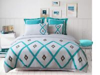 Dakota Aqua Ikat Embroidered 225TC Quilt Doona Cover Set Double Queen King Euro