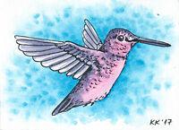 Original hand painted ACEO Hummingbird watercolor miniature art