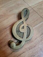 "Vintage Music Note Treble Clef Brass Door Knocker 6"""