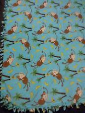 Fleece Handmade Soft Tie Blanket OVERSIZED BABY Throw Approx 50X60 animal monkey