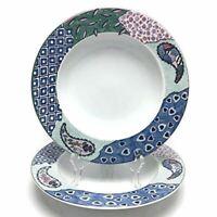 2 Studio Nova Medley Rimmed Soup Bowls Paisley Fine Porcelain China Y0284