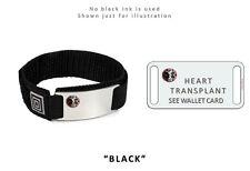 HEART TRANSPLANT Sport Medical Alert ID Bracelet with raised emblem. Free Card!
