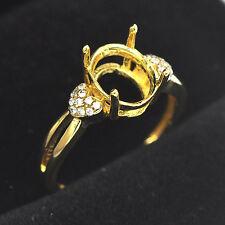 6x8mm Oval Cut 14K 585 Yellow Gold Natural Diamond Semi Mount Ring