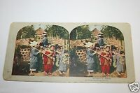 1900's Antique Big Sisters Taking Care Of Babies Like Mothers Stereoview Japan