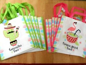 JOB LOT OF 12 ASSORTED SHOPPING BAGS. ( Flamingo & Cactus  Double sided)