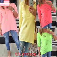 Womens Loose Causal Tunic Long Tops Blouses T-Shirt Plus Size 3/4 Sleeve Tee US
