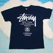 Vtg Stussy M Mens Blue T-Shirt World Tour Tee Shirt Double Sided Crew Neck 0610
