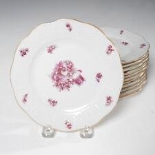 VINTAGE SET OF 12 HEREND RASPBERRY FLORAL BREAD & BUTTER PLATES W GILT DETAIL