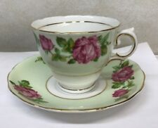 Colclough Bone China Tea Cup and Saucer with Pink Roses and Greenery 6671