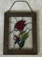Vintage Stained Glass  Tiffany Style Floral Rose Design Window Panel 11.5x14.5""