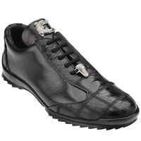 Belvedere Paulo Black Ostrich & Calfskin Leather Sneakers