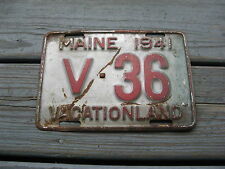 1941 41 MAINE ME COMMERCIAL COM TRUCK TRK LICENSE PLATE #36