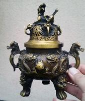 antique excellent old Bronze Signed lucky dragon Statue incense burner Censer