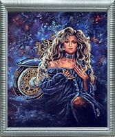 Harley Nikka Motorcycle and Exotic Vogue Lady in Blue Fashion Art Framed Picture