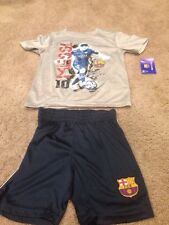 Messi FC Barcelona Size 6 T Shirt Tee & Short Combo. Boy's. Brand New.