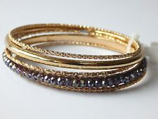 Charter Club Gold Tone and Bead Set of Five Bangle Bracelets NEW
