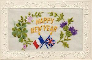 HAPPY NEW YEAR: WW1 PATRIOTIC EMBROIDERED SILK POSTCARD