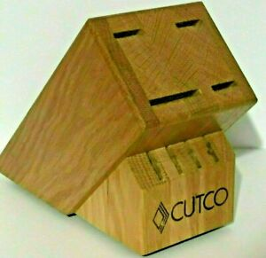 Cutco Olean, NY 8 Slots Gourmet Knife Set Storage Block Wood Oak Finish Kitchen
