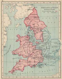 ENGLISH CIVIL WAR DEC 1643.King(red)Parliament(blue).Battles/dates 1907 map