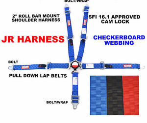 "QUARTER MIDGET RACING HARNESS 5 POINT 2"" SFI 16.1 CAM LOCK BLUE CHECKERBOARD"
