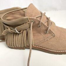 Michael Michael Kors 5.5 Tan Canvas Short Boot Shoe Leather Fringe Buckle Lace