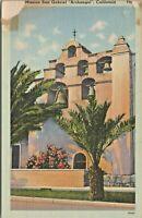 Bells Mission San Gabriel Archangel California Exterior Linen Postcard Unposted