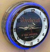 "Beechcraft Bonanza V Tail Sign 19"" Double Neon Clock Airplane Aircraft Blue Neon"