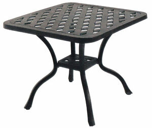 Outdoor end table 21 small square cast aluminum patio furniture side balcony