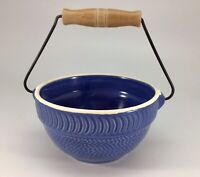 Blue Bowl Ceramic Textured Wood Handle