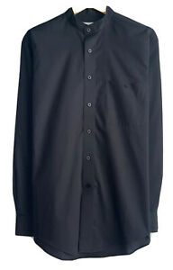Yves Saint Laurent YSL Men's 15.5 34/35 Black Band Collar Button Front Shirt euc