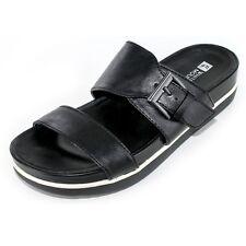 White Mountain Tough Guy Black smooth Slip on Flat form Sandals uk 6 NEW (L38)