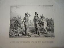 Horace VERNET RARE Litho CARICATURE MILITAIRE HUSSARD NAPOLEON EMPIRE VEAU 1820