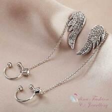 18K White & Rose Gold Plated Angel Wings Ear Cuff Clip Dangle Earrings