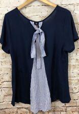 Bobeau shirt tunic womens XL french terry tie back short sleeve new navy blue C7