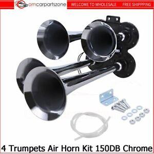 Train Air Horn 4 Trumpets Chrome Plated for Truck/Car Loud Sound 150DB Universal