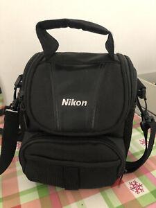 Genuine Nikon Camera Bag  Black Padded Excellent Condition 20x14 Cm