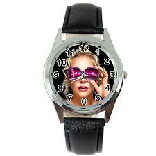 LADY GAGA JOANNE MUSIC STAR SINGER S Steel BLACK LEATHER BAND ROUND CD WATCH