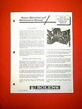 BOLENS 1886 TRACTOR REAR PTO ATTACHMENT MODEL 18095-01 OWNERS MANUAL 12/70