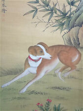 """Rare Chinese 100% Hand Painting & Scroll """"Dog"""" On Silk By Lang Shining 郎世宁"""