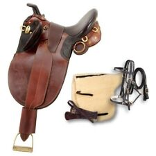 """Australian Outrider Saddle Horn Stock Poley Wide Brown As1477w 18"""""""