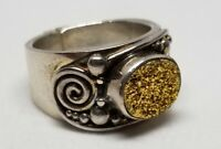 Chunky Ornate Designer Sajen Sterling Silver 925 Gold Yellow Druzy Ring Size 7