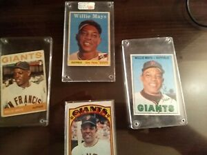 4 San Francisco Giants Willie Mays Baseball Cards (One Signed)