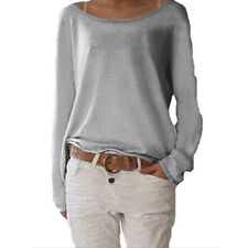 Womens Long Sleeve T-Shirts Baggy Tops Blouse Casual Loose Shirt Tee Solid Tunic