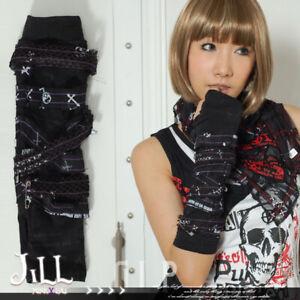 Punk Rock Gothic nirvana Bandage Fingerless elbow Gloves Are Warmers JG395
