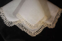 vintage Wedding handkerchief HAND CROCHET cream hanky WONDERFUL GIFT memory