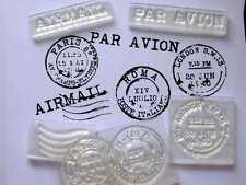 Vintage Postmarks Set Of Clear Stamps, Rome, Paris, London, Airmail, Par Avion