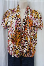 August Silk Jacket Sz S Orange Multi Short Sleeve Casual Open Front Cardigan