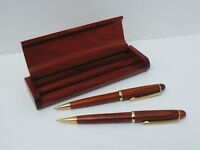 Solid Wood Genuine Rosewood Ball Pen & Fountain Pen in Rosewood Pen Box Set
