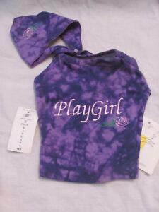New All Star Dogs Playgirl 2 Pc. Purple Tie Dye Shirt & Bandana Set XXS 1-3 lbs