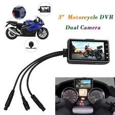 """12V 3"""" Dual Motorcycle Camera Front Rear HD MP4 Video Recorder Waterproof Kits"""